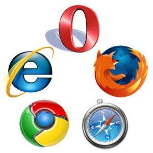 Different browser types in a circle, Opera, Firefox, Explorer, Google Chrome and Safari