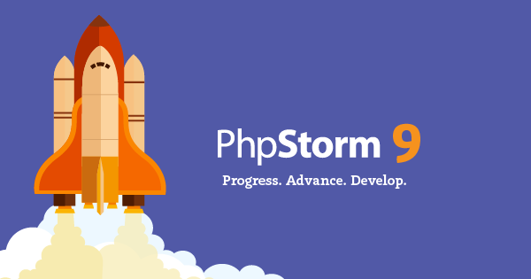 PHP Storm 9 with a rocket launching off