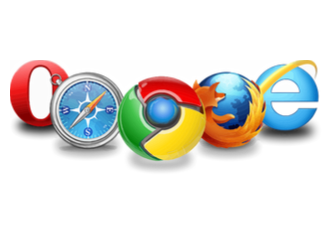 Line of the logos of the main web browsers, Opera, Firefox, safari, chrome and explorer